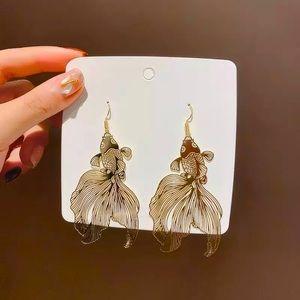 Gold Koi Fish Dangle Earrings NEW